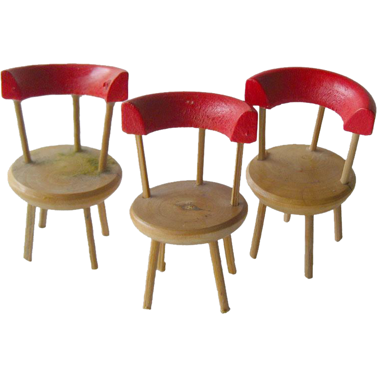 Three Vintage Miniature Doll House Wooden Rail Back Chairs / Dollhouse Toy / Miniature Chair