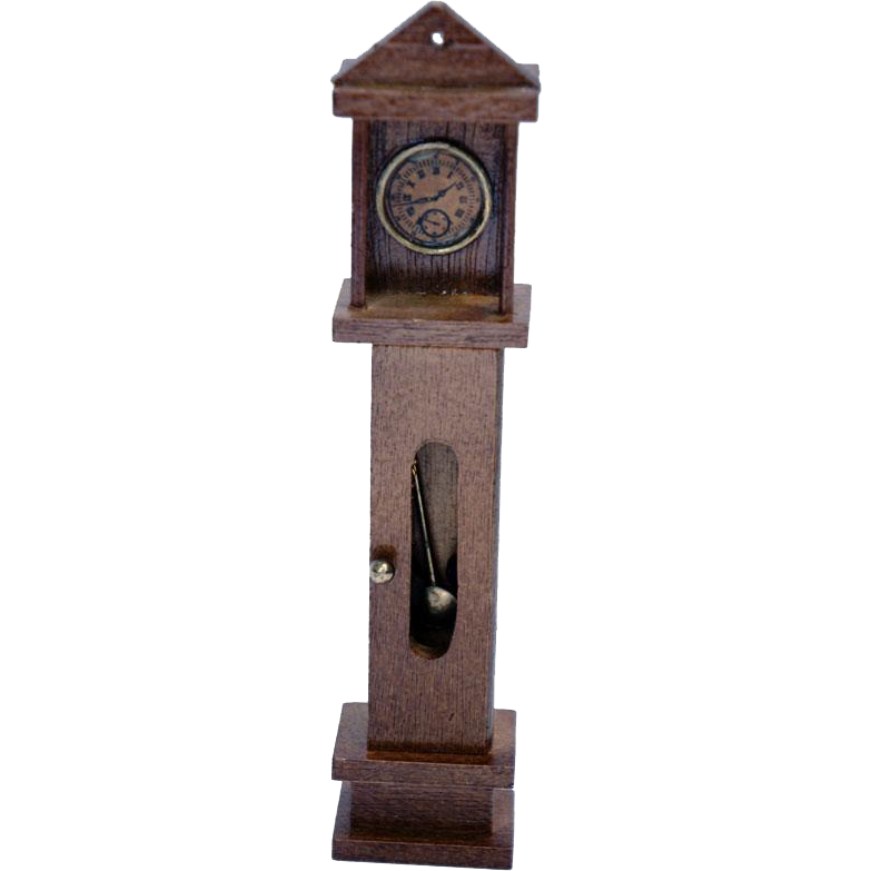 Vintage Miniature Doll House Wooden Grandfather Clock / Dollhouse Toy / Miniature Clock / Cabinet Clock