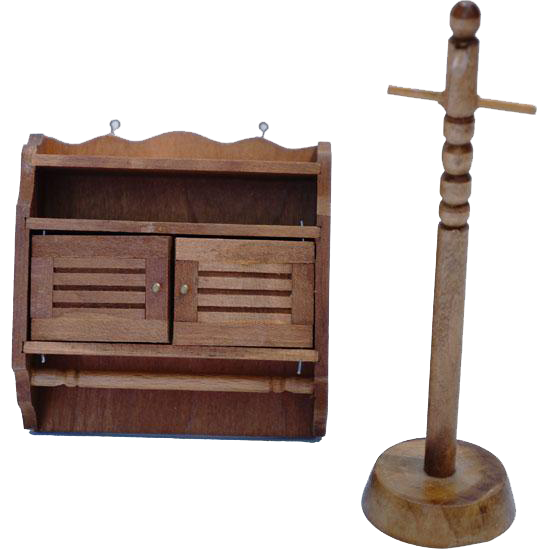 Doll House Wooden Towel Rack Cabinet and Hat Rack / Dollhouse Doll Furniture / Miniature Wood Furniture