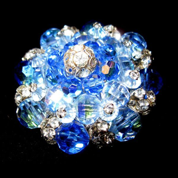 Vendome Sparkling Blue & Rhinestone Pin