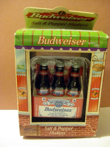 American Favorites Budweiser Salt and Pepper Six Pack Shaker Set