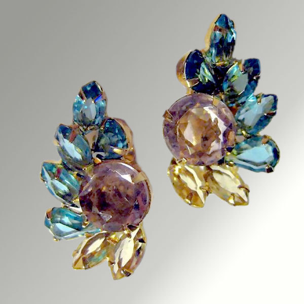 Multi-Color Rhinestone Earrings
