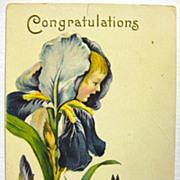 Vintage Flower Child Embossed Postcard - Stecher Litho Company