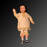 "5"" Bisque Dollhouse String Jointed Arm Doll"