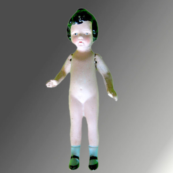 Vintage Bisque Doll with Socks & Black Hair
