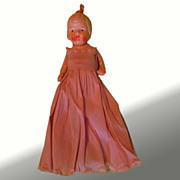 "6"" Bisque Doll With Crepe Paper Dress"
