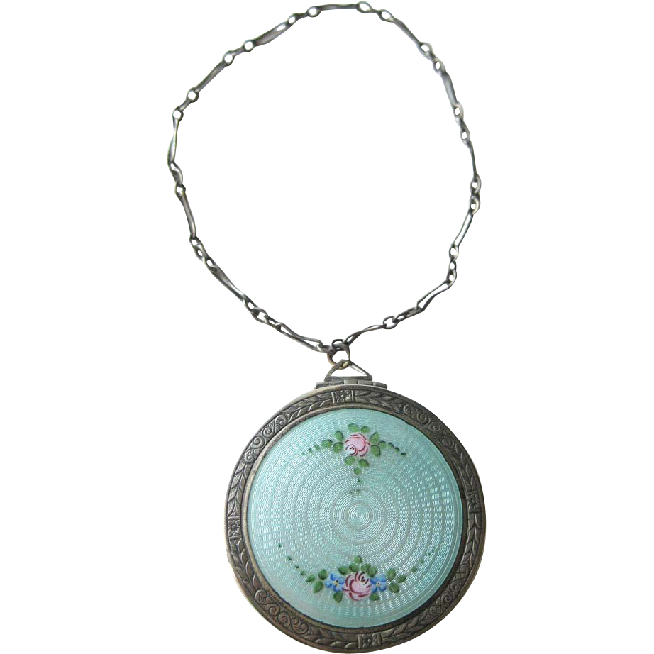 Vintage 1920s Guilloche Enamel Floral Necessaire Compact Vanity With Carrying Chain