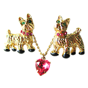 Vintage Twin Scottie Dogs Double Pin With Pink Rhinestone Heart on Chain 1950s / Scatter Pin / Scotty Dog