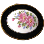 Vintage Powder and Rouge Compact Porcelain and Metal With Rose Design / Vanity Accessory / Purse Accessory