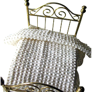 Handmade White Popcorn Afghan for Dollhouse / Dollhouse Furniture / Miniature Dollhouse Bedroom