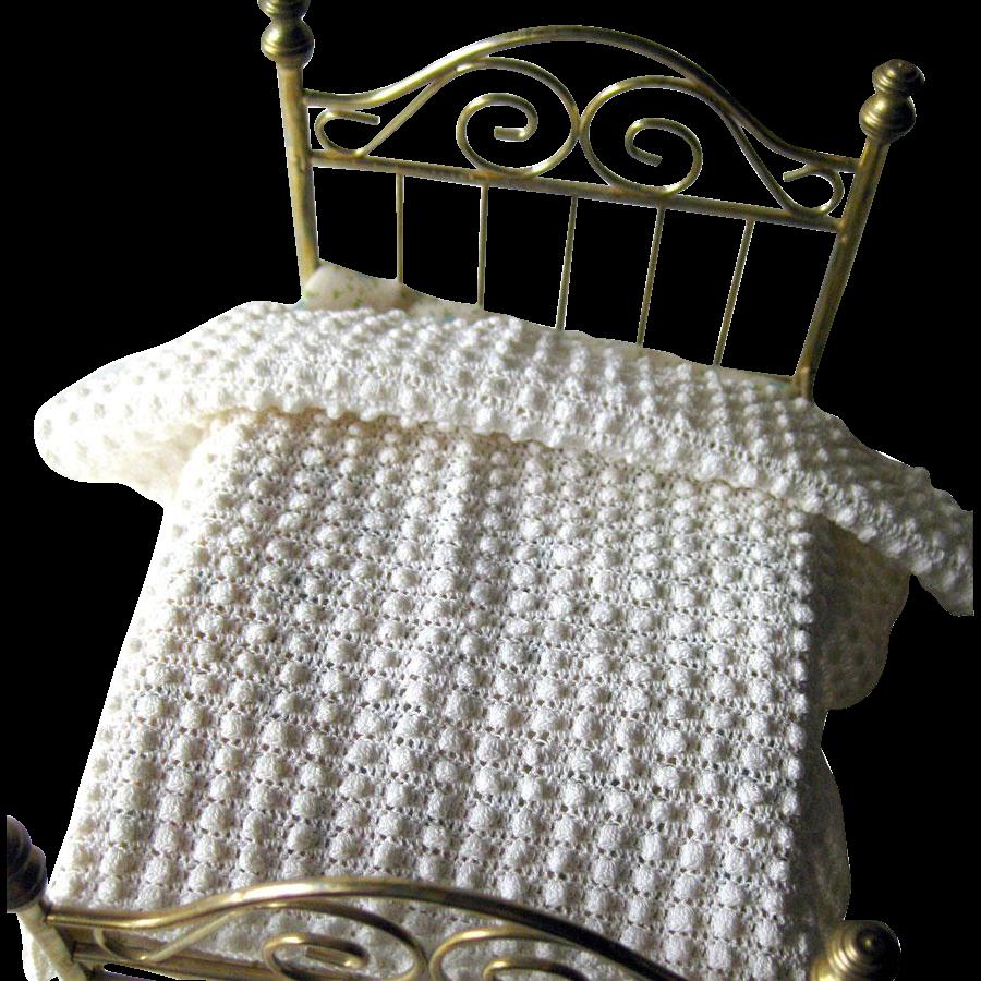 Handmade White Popcorn Afghan for Dollhouse / Dollhouse Furniture / Miniature Dollhouse Bedroom