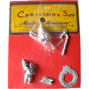 Miniature Dollhouse Christmas Pewter Accessory Set / Dollhouse Furniture / Miniature Christmas Ornaments