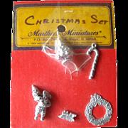 Miniature Dollhouse Christmas Pewter Accessory Set / Dollhouse Furniture / Miniature Christmas Ornaments