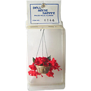 Hanging Red Plant for Miniature Dollhouse / Miniature Flower / Doll House Flowers