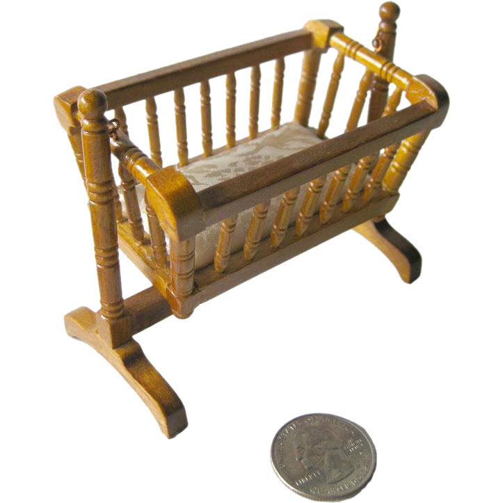 Vintage Miniature Wood Turned Rocking Baby Cradle With Mattress / Dollhouse  Doll Furniture / Miniature Furniture / Doll House Nursery