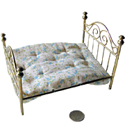 Miniature Antique Brass Bed With Mattress / Doll House Furniture / Miniature Furniture / Doll House Bedroom
