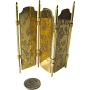 Miniature Dollhouse Brass Room Screen With Japanese Scenes / Doll House Furniture / Miniature Furniture