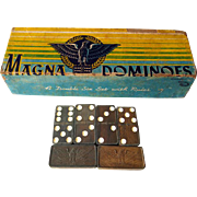 Magna Dominoes Vintage Double Six Wooden Tile Set No 225 - Family Night Game - Party Game - Domino Game