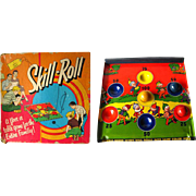 Skill Roll Metal Brownie Graphics Tin Game Kids Toy in Original Box by Bar Zim / Litho Elf Graphics / Vintage Board Game