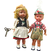 West German Wind Up Dancing Dolls - Early Plastic Doll - Girl and Boy Doll - Sweetheart Dolls