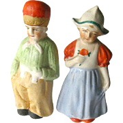 Dutch Couple Salt and Pepper Shakers - Vintage Kitchenware - Collectible Shakers - Ceramic Shakers - Figural Shakers