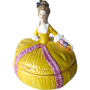 Victorian Lady Dresser Doll - Vintage Powder Box - Bridesmaid Gift - Gift Box - Porcelain Box - Vanity Table Box - Yellow Lady Dresser Box