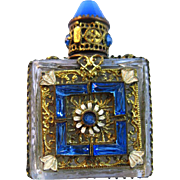 Czech Perfume Bottle With Blue Jewels and Filigree - Vintage Perfume Bottle - Vintage Vanity Table - Womans Perfume - Fragrance Bottle