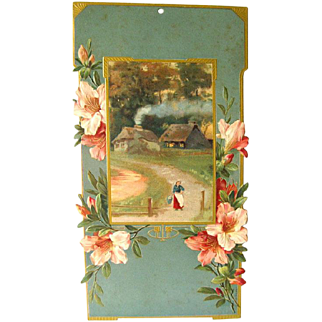 Art Nouveau Cottage Scene Advertising Calendar Art - German Print - Wall Hanging