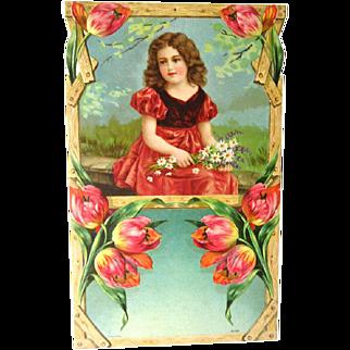 Child With Flowers Art Print - German Print - Salesman Sample Calendar Art