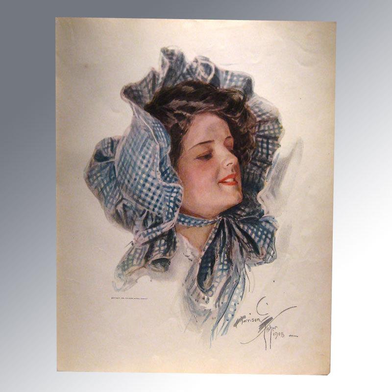Harrison Fisher 1909 Vintage Print Lady in Bonnet Home Decor Victorian Print