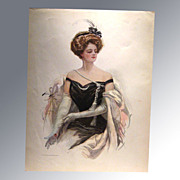 Harrison Fisher 1909 Vintage Print Victorian Woman At The Ball Home Decor Victorian Print