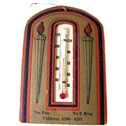 Gilded Advertising Thermometer Card / Paper Ephemera / Home Decor / Advertising Card / Housewarming Gift