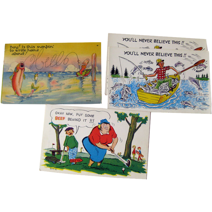 Four Vintage Humorous Sport Postcards / Vintage Ephemera / Souvenir Post Card / Fishing Postcard / Golfing Postcard