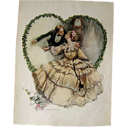Victorian Couple In Love Harrison Fisher 1909 Vintage Original Print / Home Decor / Valentines Gift / Gift For Her / Wedding Gift