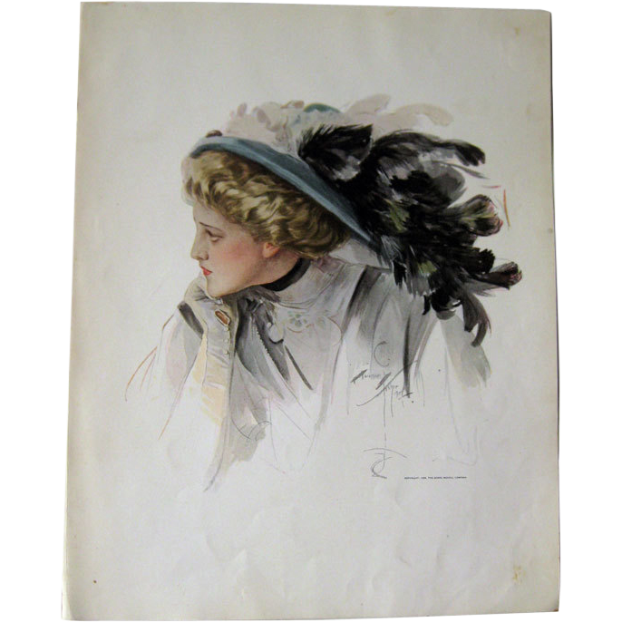Victorian Woman in Large Hat Harrison Fisher 1909 Vintage Original Print / Home Decor / Valentines Gift / Gift For Her / Wedding Gift