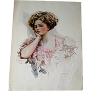 Victorian Woman in Lacy Dress Harrison Fisher 1909 Vintage Original Print / Home Decor / Valentines Gift / Gift For Her / Wedding Gift