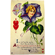 Vintage Valentine Post Card With Morning Glory Lady and Poem / Unused Postcard / Valentines Card / Vintage Valentine / Illustrated Card