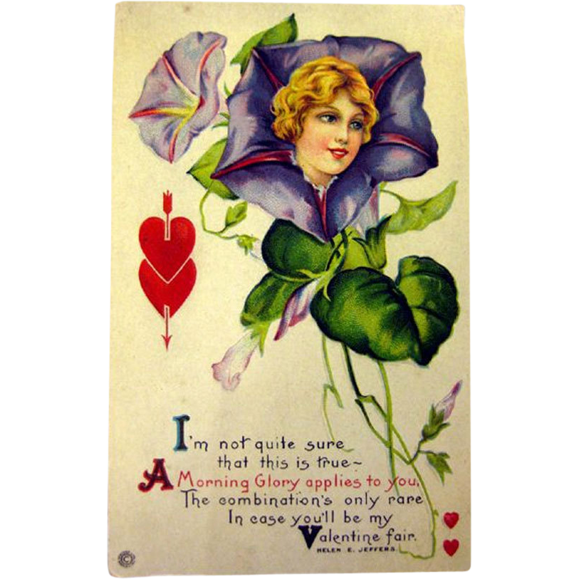 Vintage Valentine Post Card With Morning Glory Lady and Poem / Unused Postcard / Valentines Card / Vintage Valentine / Illustrated Card