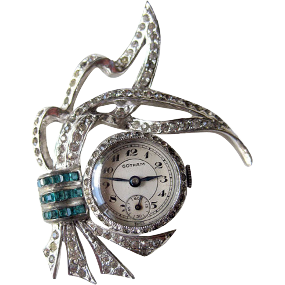 Rhinestone Gotham Watch Pin With Turquoise Stones Mechanical Watch in Working Condition