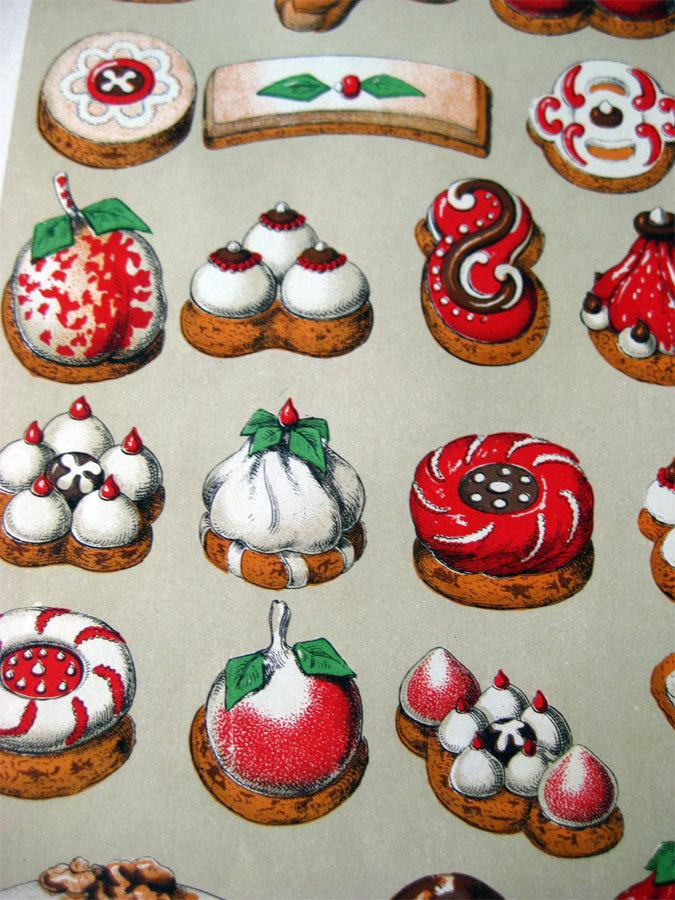 Antique german christmas cookie print weihnachtsgeback c1900s home