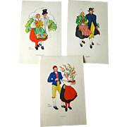Aina Stenberg Colorful Vintage Postcard Lot of Three / Sweedish Artist / Vintage Ephemera / Artist Signed Post Cards