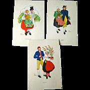 Aina Stenberg Colorful Vintage Postcard Lot of Three / Sweedish Artist / Vintage Ephemera / Artist Signed Post Cards
