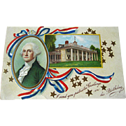 George Washington Birthday Postcard / 1900s Post Card / Vintage Ephemera / Patriotic Postcard