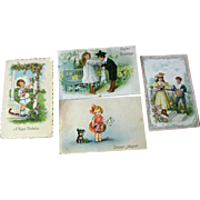 Lot of Four Children Illustrated Postcards / vintage Post Cards / Vintage Ephemera / Birthday Postcard