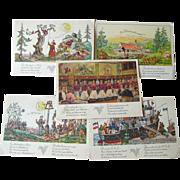 German American Cruise Line Illustrated Post Cards Lot of Five / Hamburg-Amerika Linie / Vintage Cards / Vintage Ephemera / Art Work