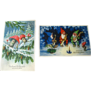 Lot of Two Gnome and Mushroom Illustrated Postcards / Vintage Post Cards / Vintage Ephemera / New Year Post Card
