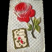 Flocked Rose Birthday Postcard / Vintage Post Cards / Vintage Ephemera / Birthday Post Card