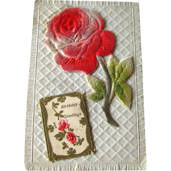 Flocked Rose Birthday Postcard / Vintage Post Cards / Vintage Ephemera / Birthday Post Card