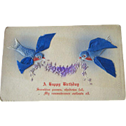 Blue Bird Ribbon Winged Bird Birthday Postcard / Vintage Post Cards / Vintage Ephemera / Birthday Post Card