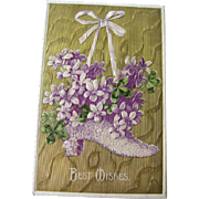 Best Wishes Violets and Gilded Postcard Made in Germany - Embossed Postcard - Vintage Post Card - Vintage Ephemera